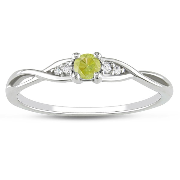 Haylee Jewels 10k White Gold 1/6ct TDW Yellow Diamond Promise Ring (G-H,I2-I3)