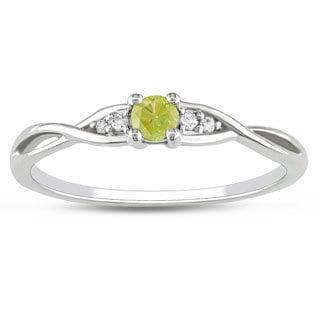 Haylee Jewels 10k White Gold 1/6ct TDW Yellow Diamond Ring (G-H,I2-I3)