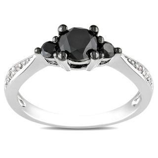 Miadora Sterling Silver 1ct TDW Black and White Diamond 3-Stone Ring (G-H, I3) with Bonus Earrings