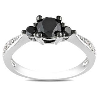 Miadora Sterling Silver 1ct TDW Black and White Diamond 3-Stone Ring (G-H, I3)