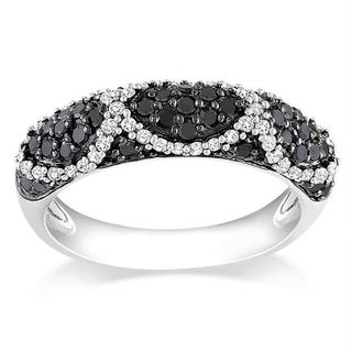 Miadora Sterling Silver 3/4ct TDW Black and White Diamond Ring (G-H, I3)