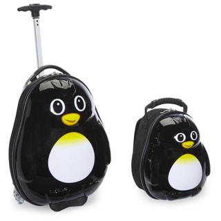 Trendykid Travel Buddies Penguin 2-piece Hardside Kids Carry On Luggage Set