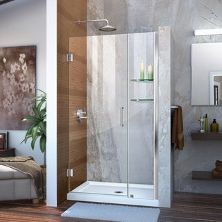 """DreamLine Unidoor 39-40 in. W x 72 in. H Frameless Hinged Shower Door with Shelves - 39"""" - 40"""" W"""
