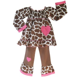 Ann Loren Girl&#39;s Giraffe-print Peasant Top and Pant Set 