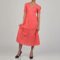 La Cera Women's Coral Cotton Short Sleeve Embroidered Tier Dress