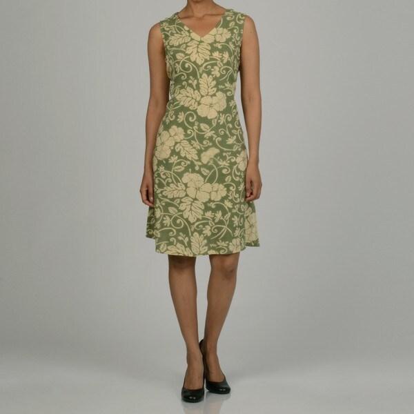 La Cera Women's Cotton Sleeveless V-neck Sundress