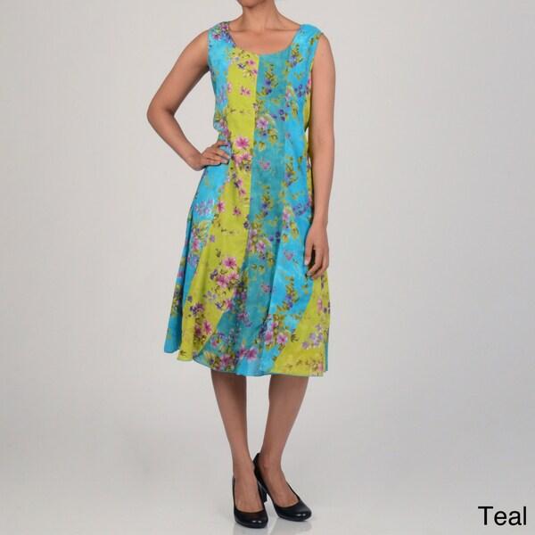 La Cera Women's Sleeveless Bananna Peel Dress