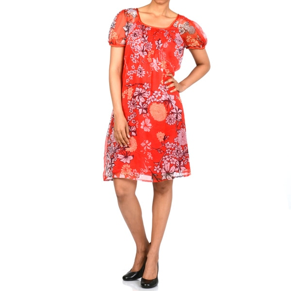 La Cera Women's Short Sleeve Pleated Chiffon Floral Dress