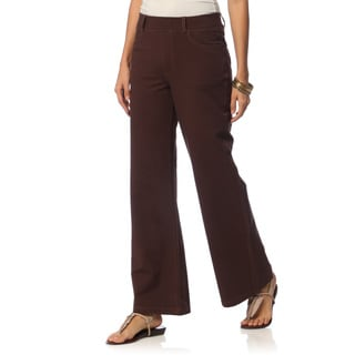 La Cera Women's Denim Wide Leg Knit Denim Pants
