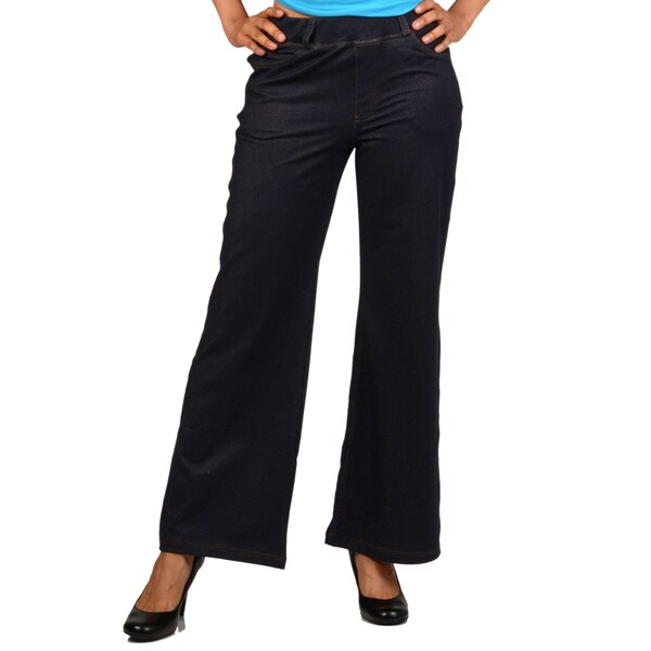 La Cera Women's Pull-On Denim Wide-Leg Knit Denim Pants
