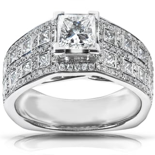 Annello 18k White Gold 1 7/8ct TDW Certified Diamond Engagement Ring (F-G, SI1)