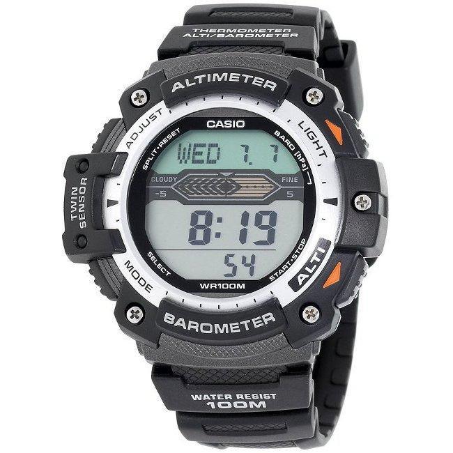 Casio Black-and-silver Digital Water-resistant Twin Sensor Watch