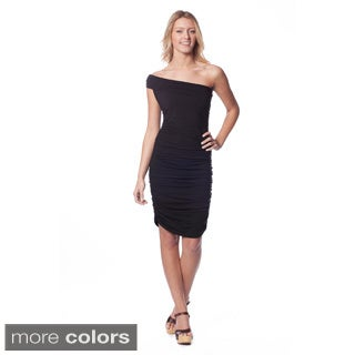 AtoZ Women's Modal Ruched Asymmetrical One-shoulder Dress