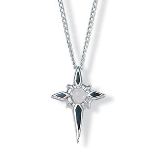 Lillith Star Sterling Silver Black Enamel 'Lord's Prayer' Cross Necklace