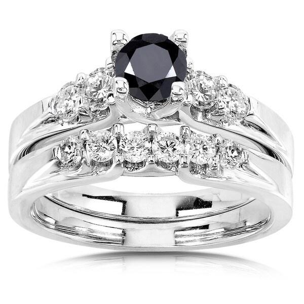 Annello 14k Gold 1 1/4ct TDW Black and White Diamond Bridal Ring Set (H-I, I1-I2)