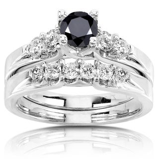 Annello 14k Gold 1 1/4ct TDW Black and White Diamond Bridal Ring Set (H-I, I1-I2)