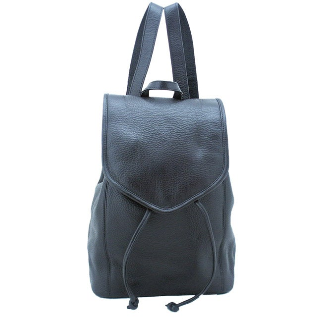 Leatherbay Black 12-inch Flap-over Leather Backpack