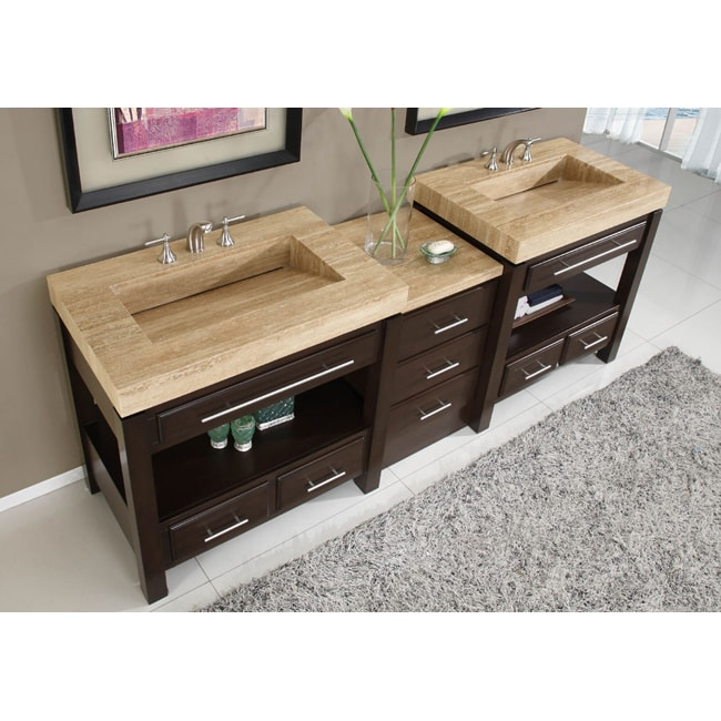 Silkroad Exclusive Travertine Countertop Double Stone Sink