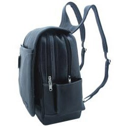 Leatherbay Black Leather Adjustable Strap 15.4-inch Laptop Backpack