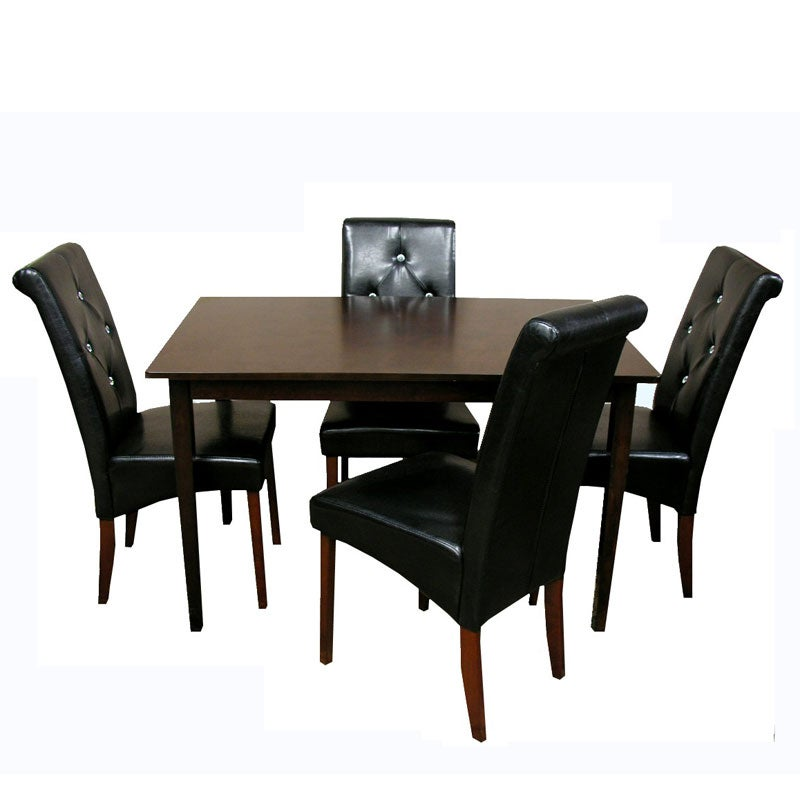 black bi cast leather covers the chairs of this dining set