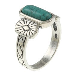 Southwest Moon Sterling Silver Rectangular Turquoise Ring