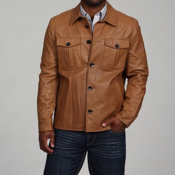 Andrew Marc Men's James Lamb Leather Shirt Jacket - Overstock