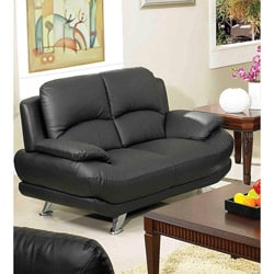 Alice Black Leather Loveseat