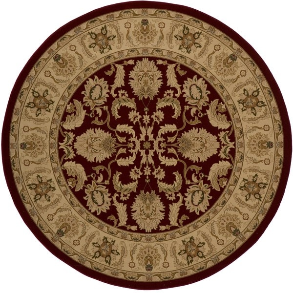 "Westminster Agra Red Power-Loomed Rug (7'10"" x 7'10"" Round)"