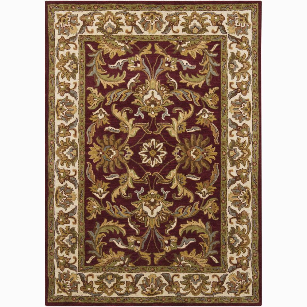 Mandara Hand-tufted Oriental Burgundy Wool Rug (7' x 10')