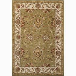 Mandara Hand-tufted Oriental Green Wool Rug (5' x 7')