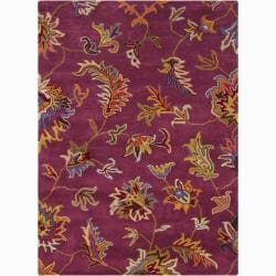 Mandara Hand-tufted Purple Floral Wool Rug (5' x 7')