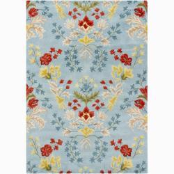 Mandara Hand-tufted Blue Floral Wool Rug (7' x 10')