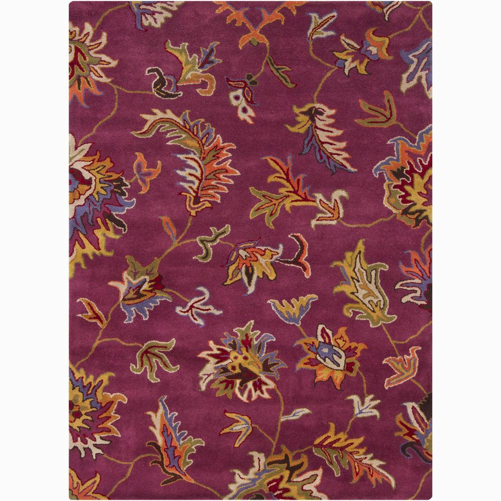 Mandara Hand-tufted Purple Floral Wool Rug (7' x 10')