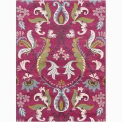 Hand-tufted Bajrang Pink Floral Wool Rug (5' x 7')