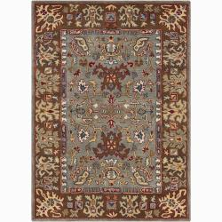 Mandara Hand-Tufted Oriental Grey Wool Area Rug (5' x 7')