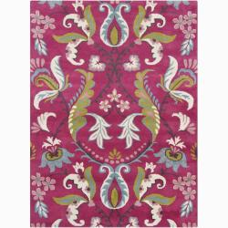 Bajrang Hand-tufted Pink Floral Wool Rug (7' x 10')