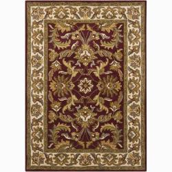 Mandara Hand-tufted Oriental Burgundy Wool Rug (5' x 7')