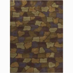 Mandara Hand-Tufted Geometric Brown Wool Area Rug (7' x 10')