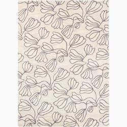 Mandara Hand-tufted Floral White Wool Rug (7' x 10')