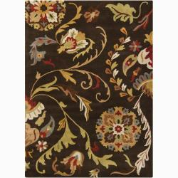 Mandara Transitional Hand-Tufted Floral Brown Wool Rug (7' x 10')