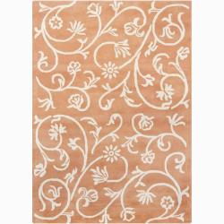 Mandara Hand-tufted Floral Orange Wool Rug (5' x 7')