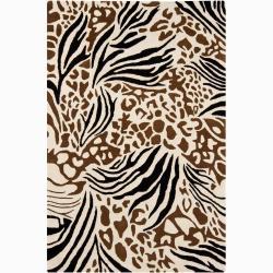 Hand-tufted Mandara Floral Wool Rug (5' x 8')