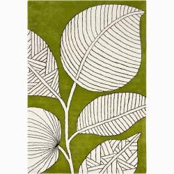 Hand-tufted Mandara Green Floral Wool Rug (5' x 8')