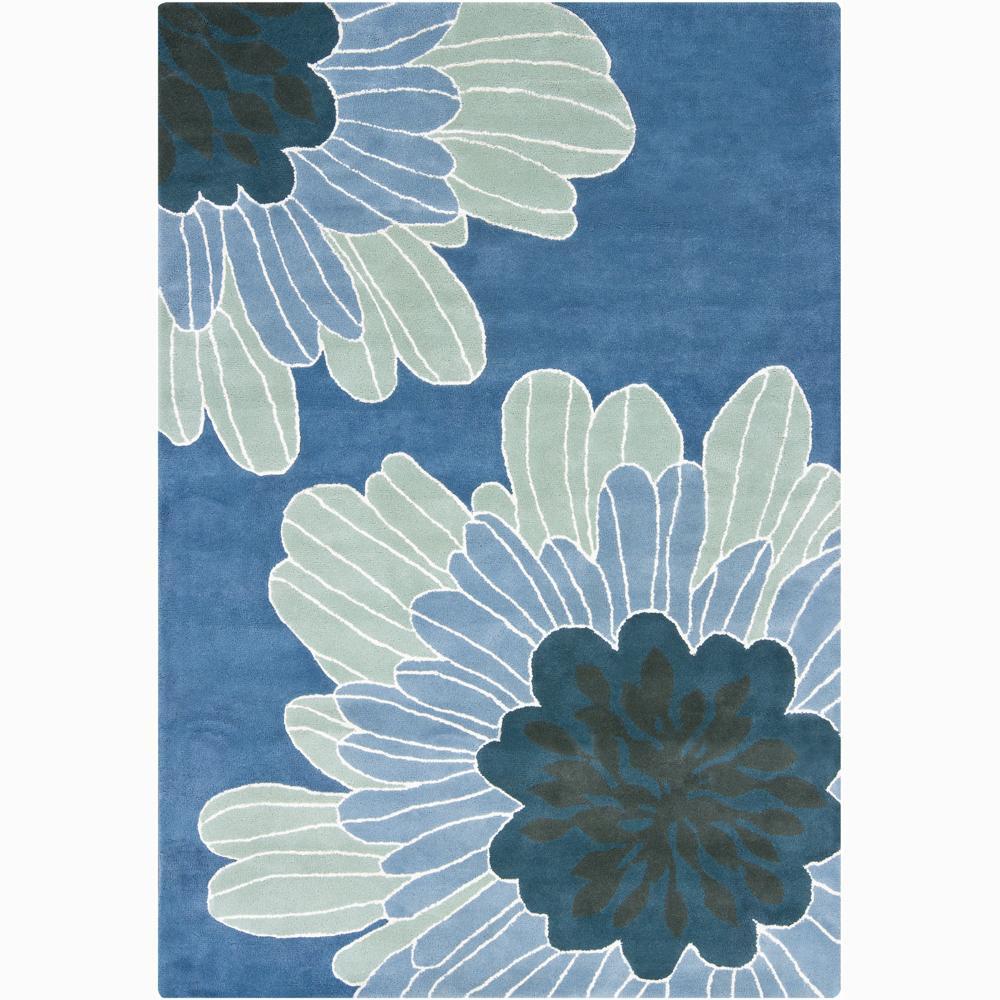 Hand-tufted Mandara Blue Floral Wool Rug (5' X 8')