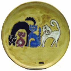 Mara Stoneware Round Cats Earth Platter (Mexico)