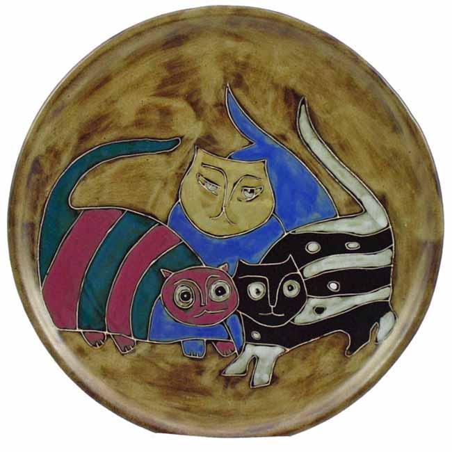 Mara Stoneware Round Cats Platter (Mexico)