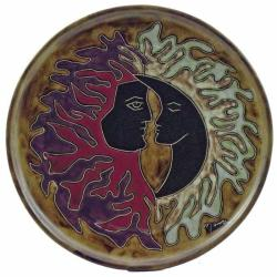 Mara Stoneware Round Sun and Moon Platter (Mexico)