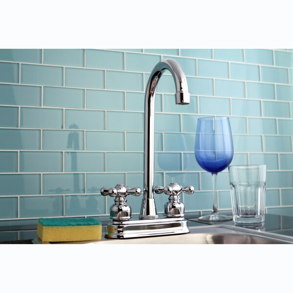 Polished Chrome Two-handle Bar Faucet