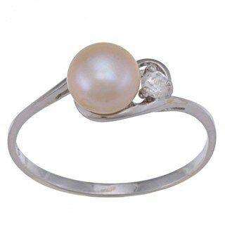 Sterling Silver White FW Pearl and Clear Cubic Zirconia Ring (6-7 mm)