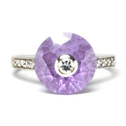 Sterling Silver Cubic Zirconia and Purple Crystal Ring